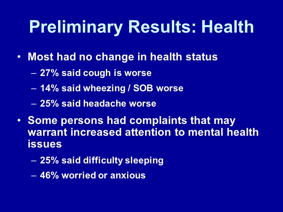 Preliminary Results: Health