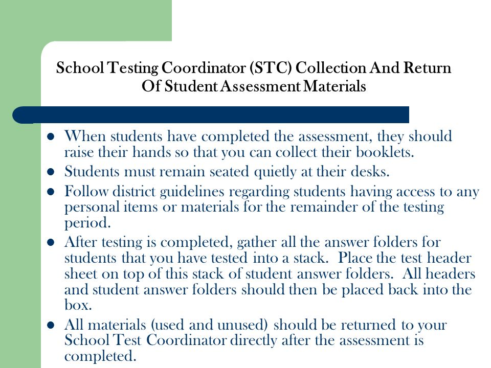 School Testing Coordinator (STC) Collection And Return Of Student Assessment Materials