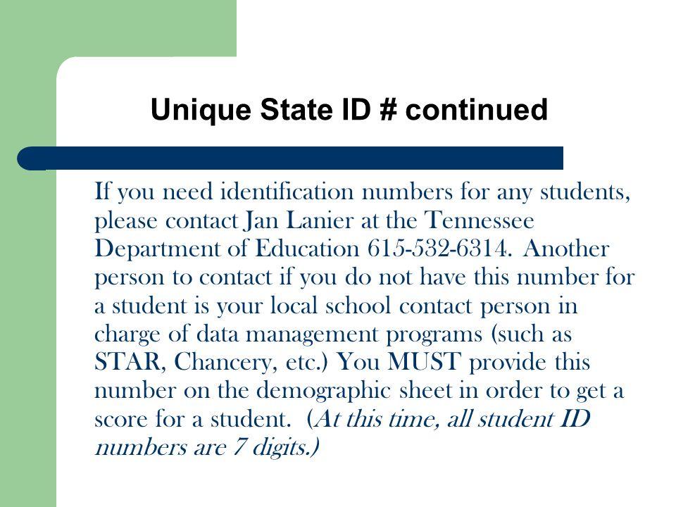 Unique State ID # continued