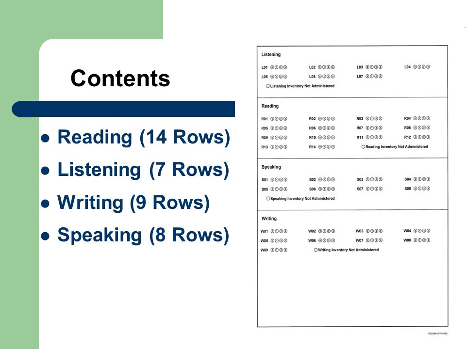 Contents Reading (14 Rows) Listening (7 Rows) Writing (9 Rows)