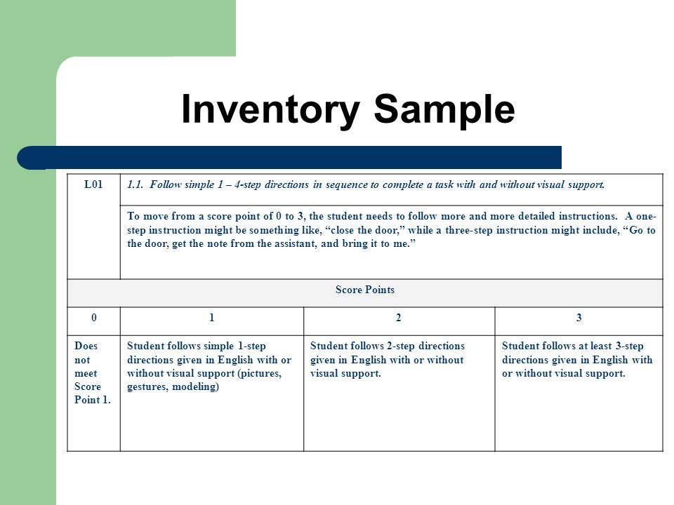 Inventory Sample L01. 1.1. Follow simple 1 – 4-step directions in sequence to complete a task with and without visual support.