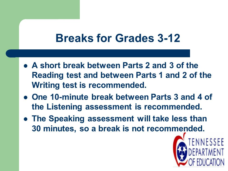 Breaks for Grades 3-12 A short break between Parts 2 and 3 of the Reading test and between Parts 1 and 2 of the Writing test is recommended.