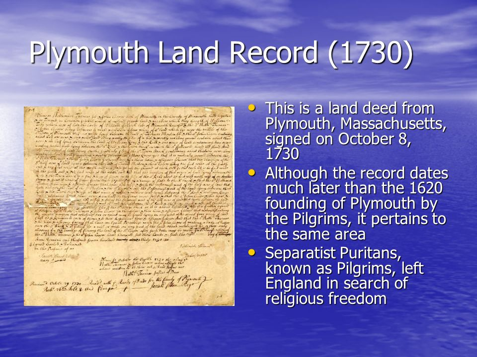 Plymouth Land Record (1730)