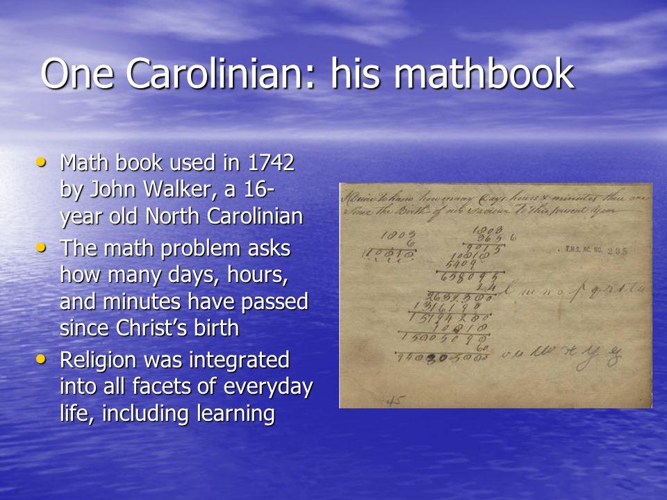 One Carolinian: his mathbook