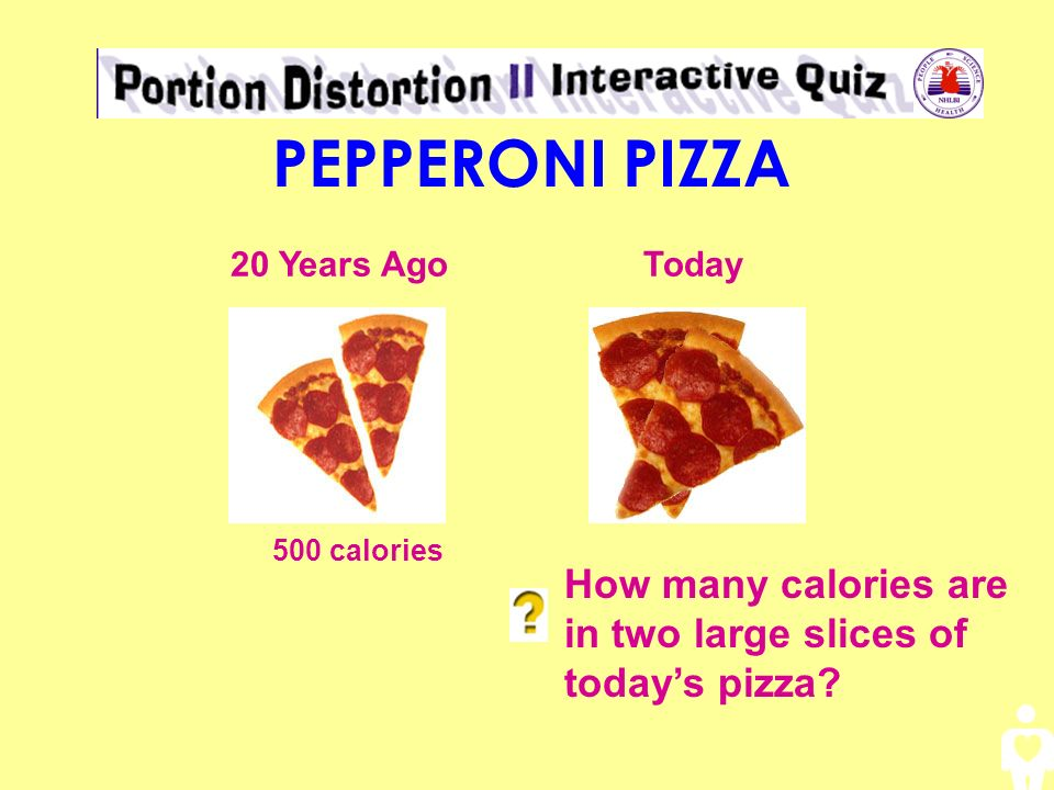 PEPPERONI PIZZA 20 Years Ago. Today. 500 calories.