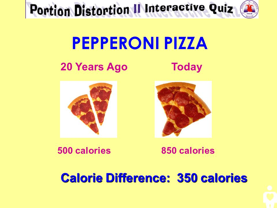 PEPPERONI PIZZA Calorie Difference: 350 calories 20 Years Ago Today