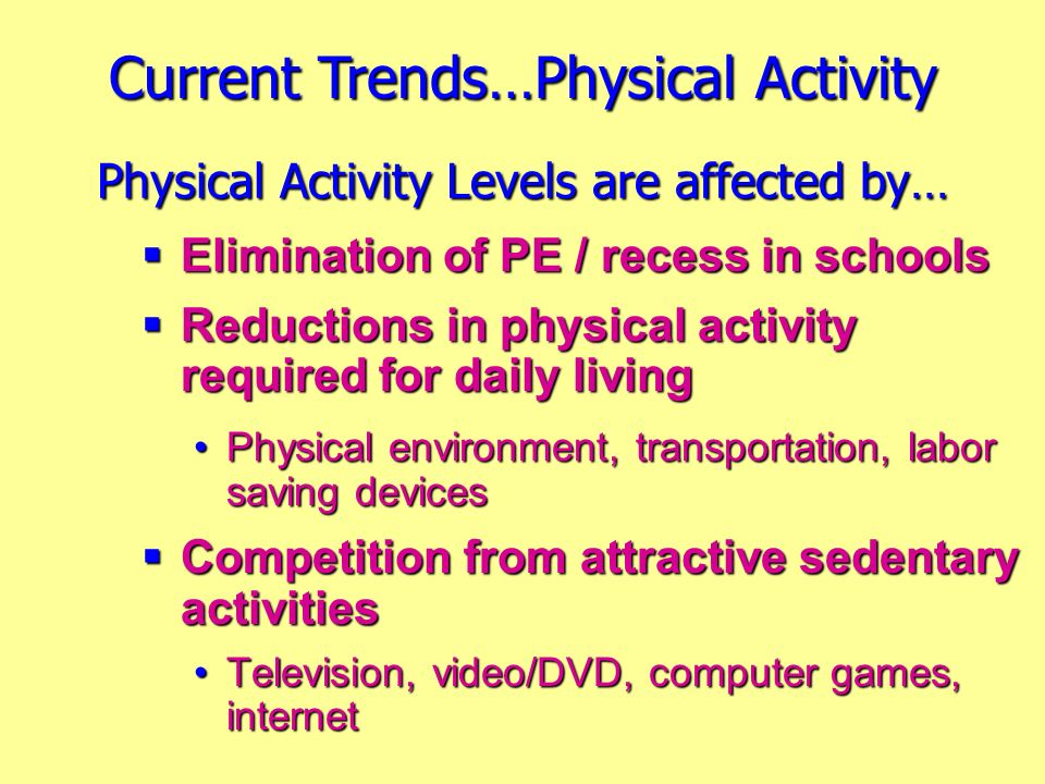 Physical Activity Levels are affected by…