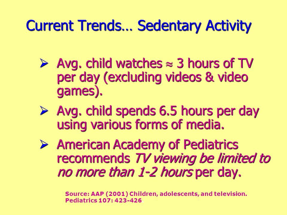 Current Trends… Sedentary Activity