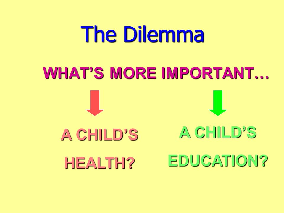 The Dilemma WHAT'S MORE IMPORTANT… A CHILD'S A CHILD'S EDUCATION