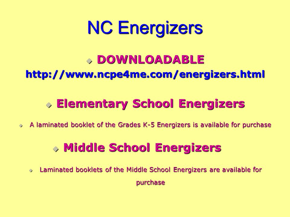 NC Energizers DOWNLOADABLE Elementary School Energizers