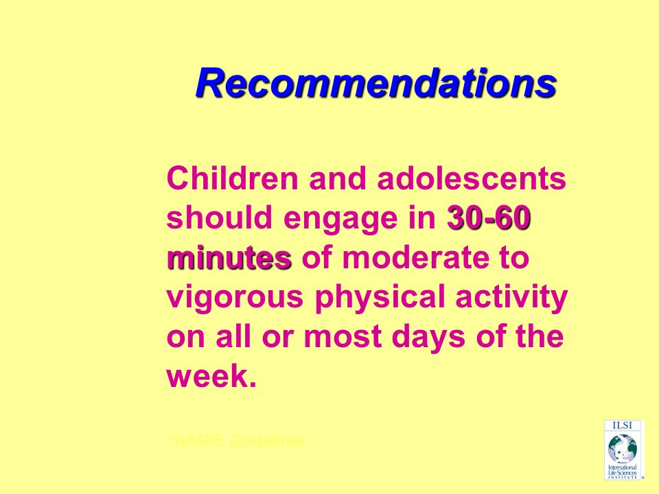 Recommendations Children and adolescents should engage in 30-60 minutes of moderate to vigorous physical activity on all or most days of the week.