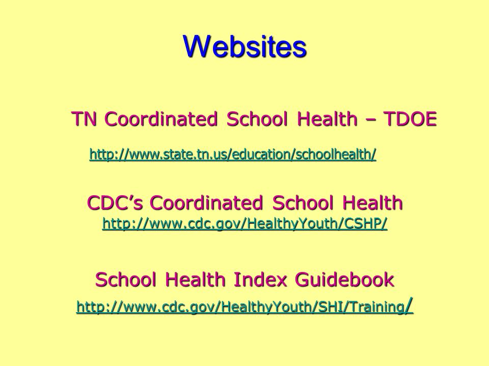Websites TN Coordinated School Health – TDOE