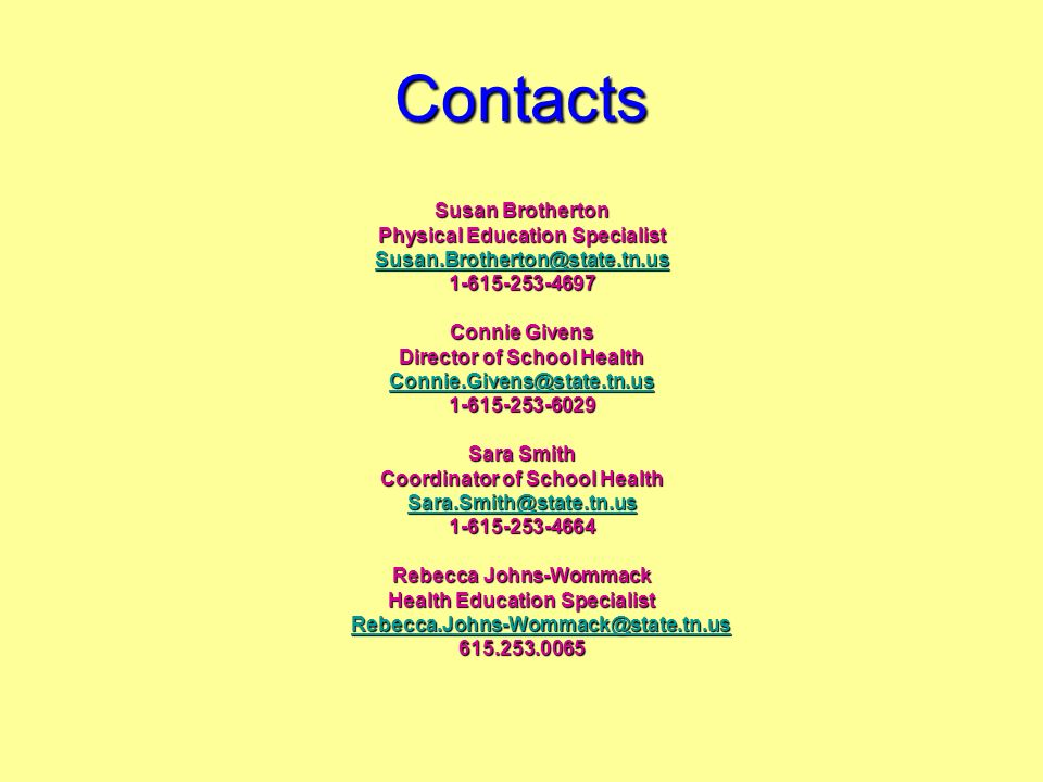 Contacts Susan Brotherton Physical Education Specialist