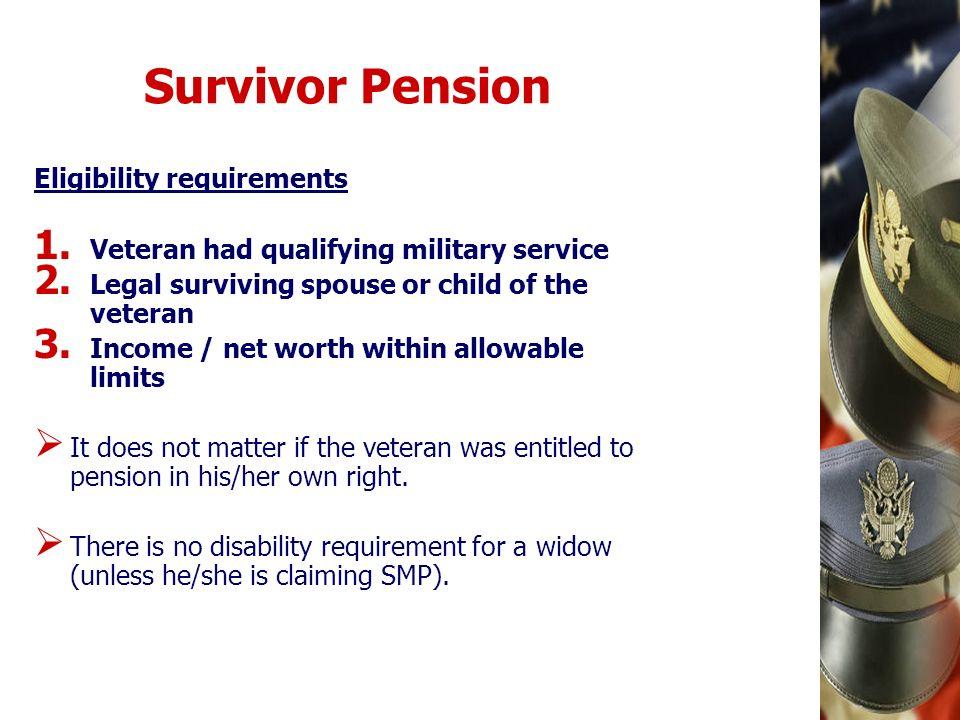 Survivor Pension Eligibility requirements