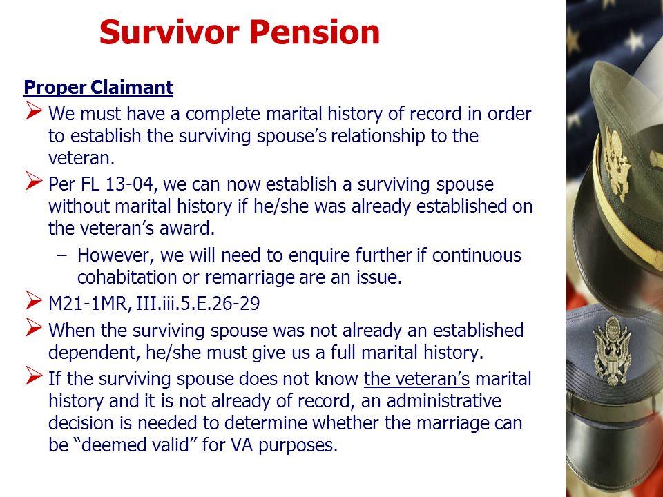 Survivor Pension Proper Claimant