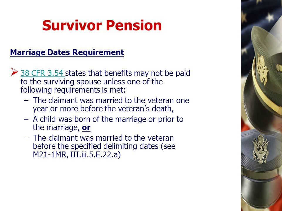 Survivor Pension Marriage Dates Requirement