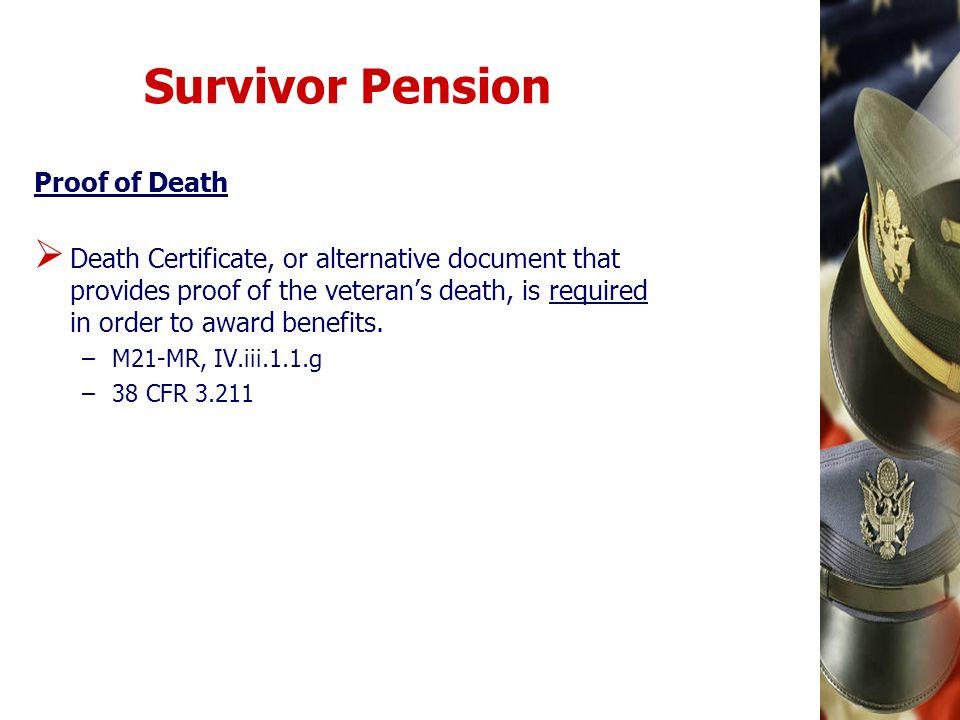 Survivor Pension Proof of Death