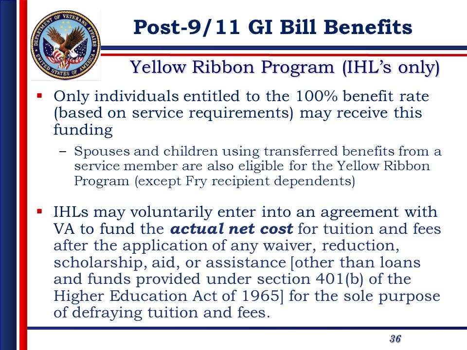 Yellow Ribbon Program (IHL's only)
