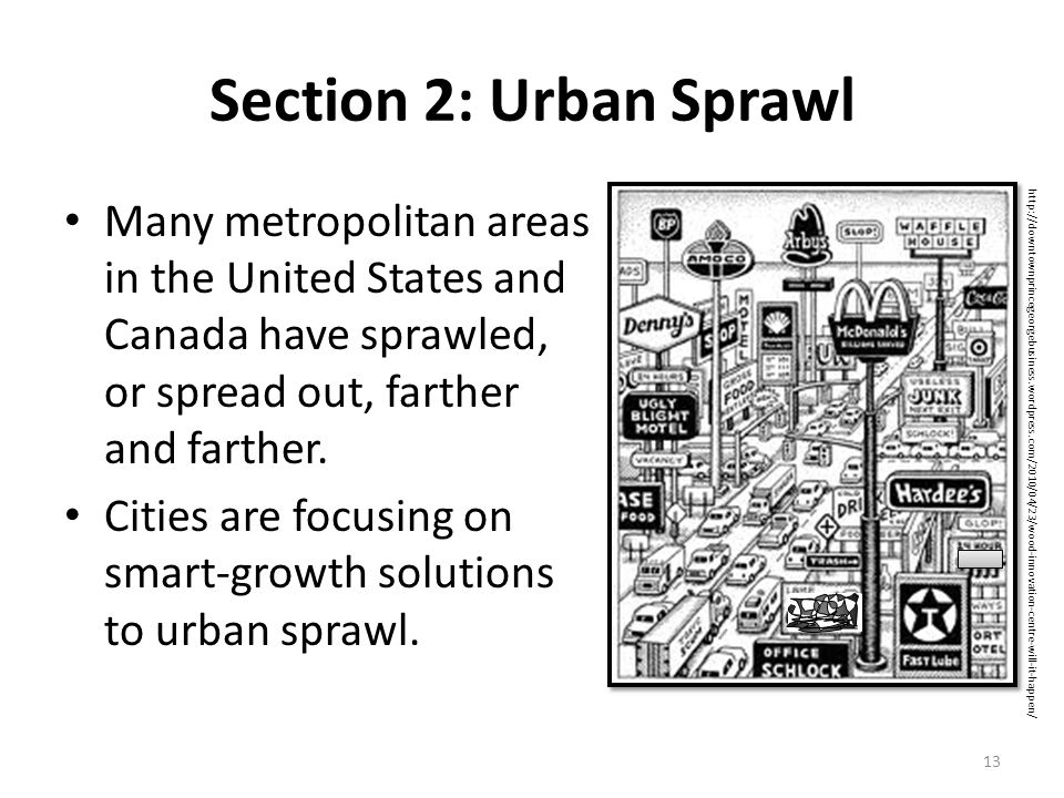 an introduction to the urban sprawl areas Urban sprawl in the united states: 1970-2010 this paper examines changes in urban sprawl in united states metropolitan areas from 1970 to 2010 using a.