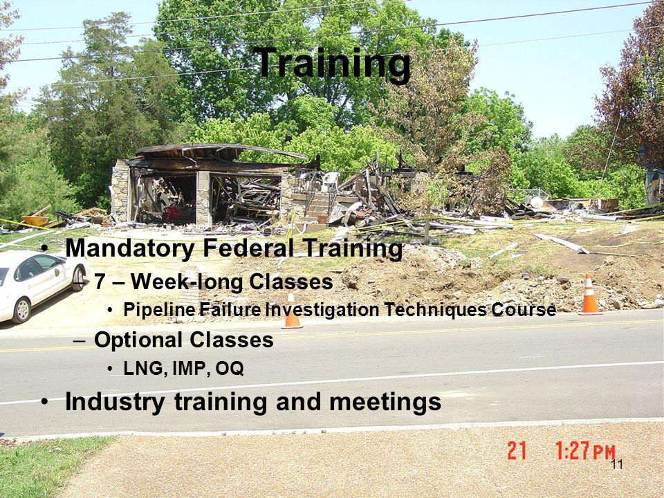 Training Mandatory Federal Training Industry training and meetings