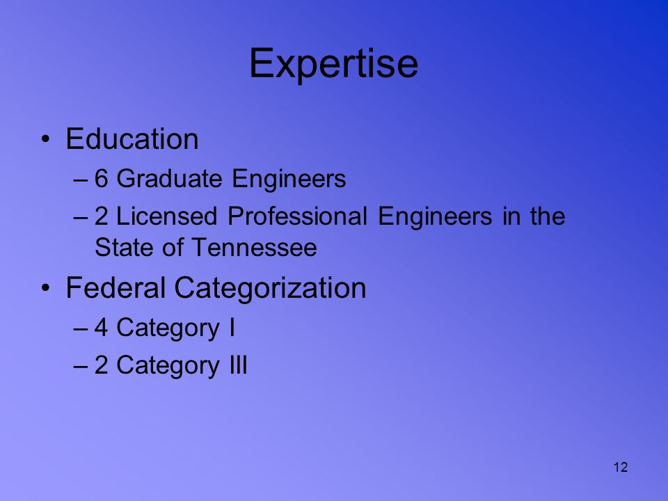 Expertise Education Federal Categorization 6 Graduate Engineers