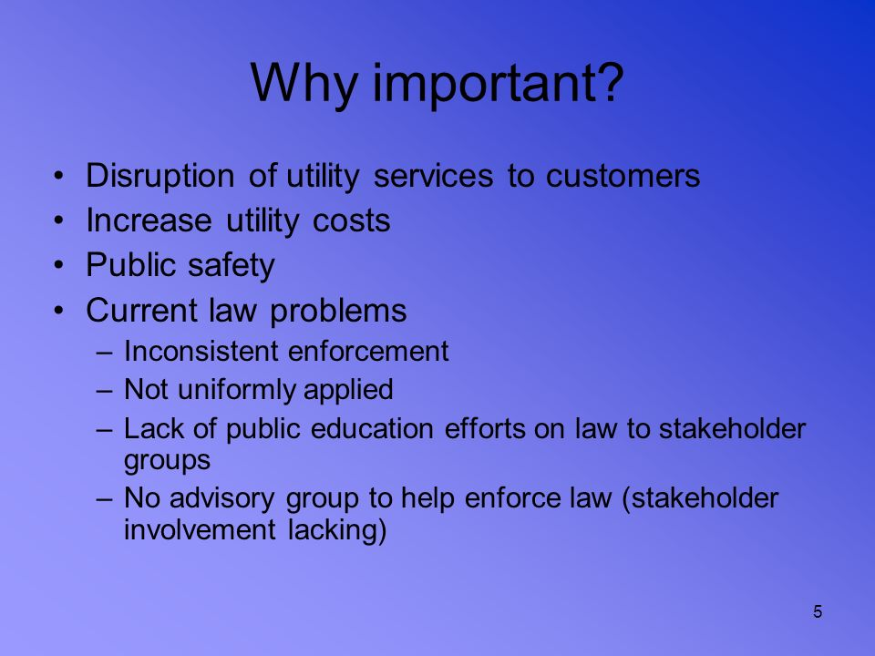 Why important Disruption of utility services to customers