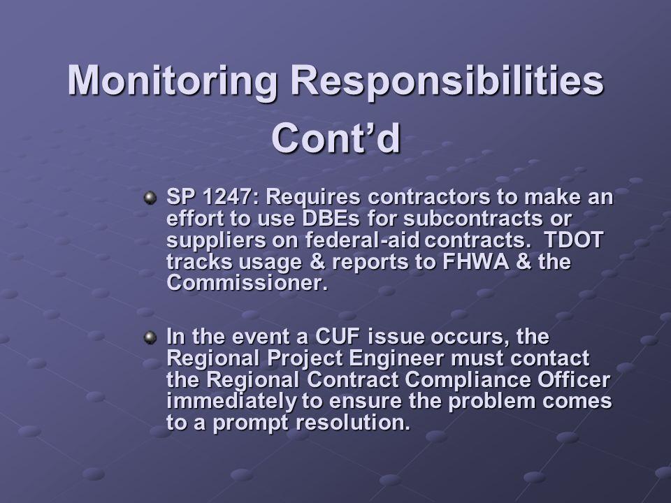 Monitoring Responsibilities Cont'd