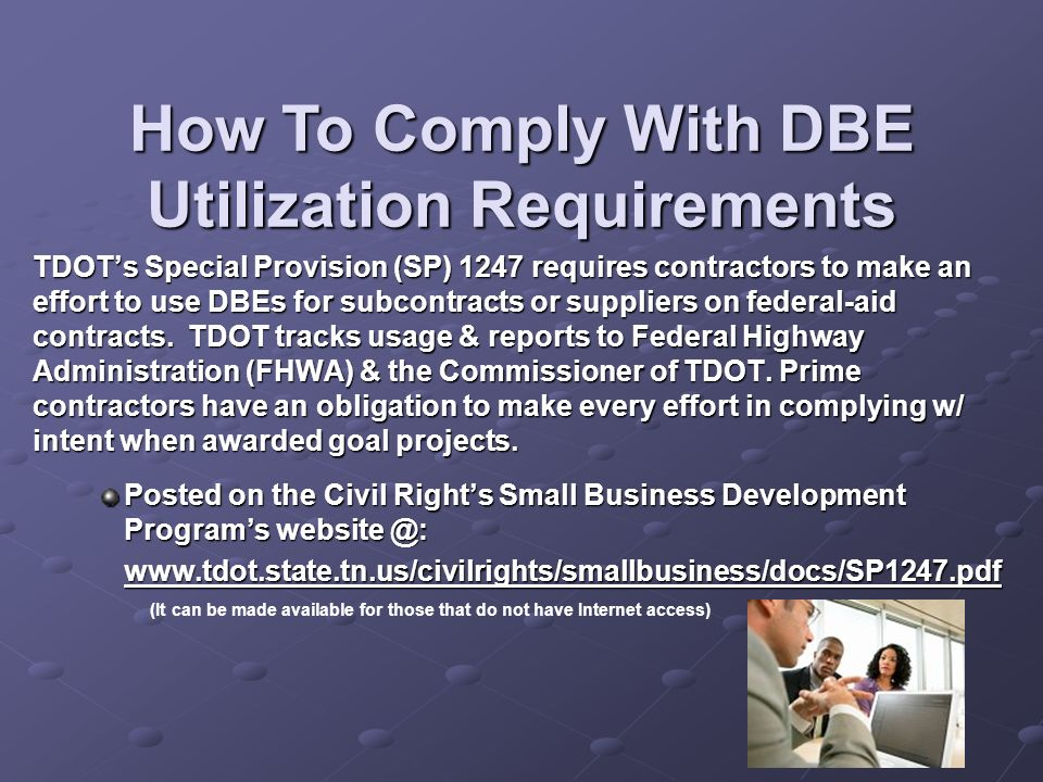 How To Comply With DBE Utilization Requirements