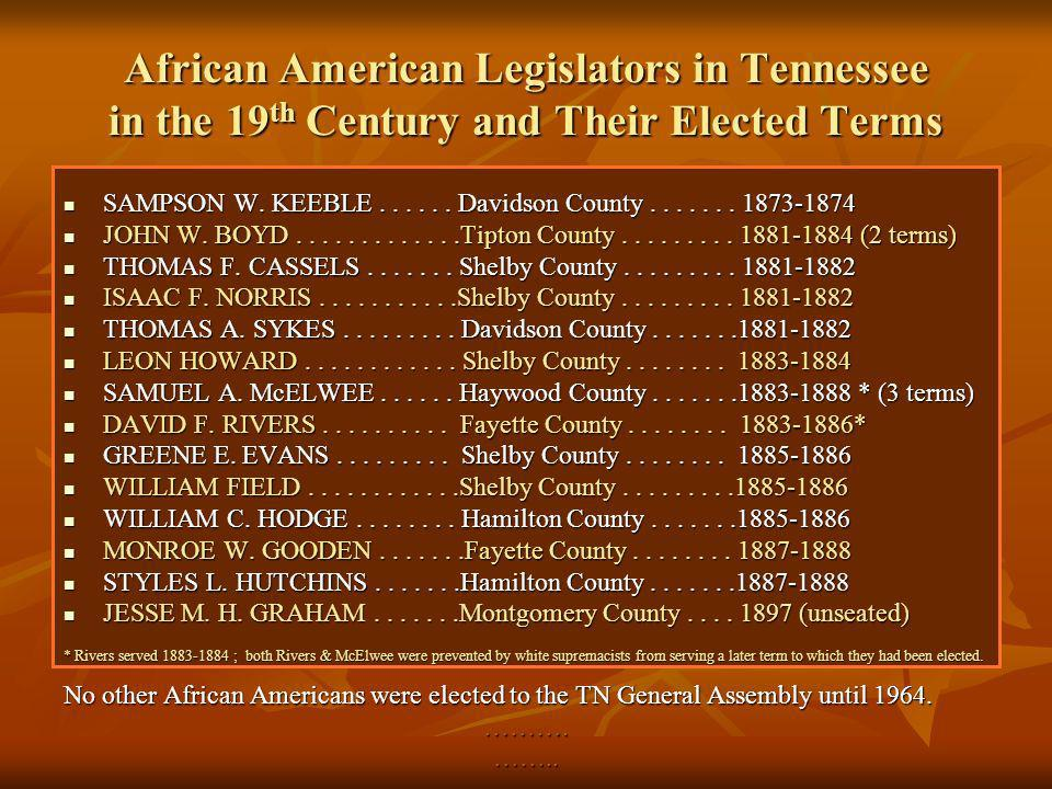 African American Legislators in Tennessee in the 19th Century and Their Elected Terms