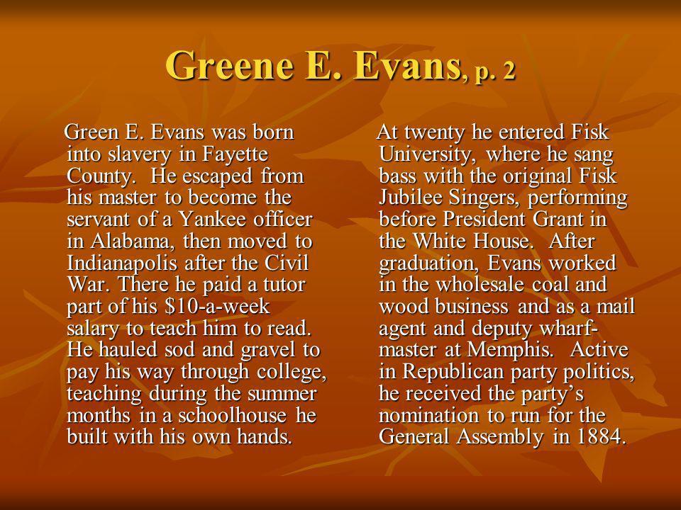 Greene E. Evans, p. 2