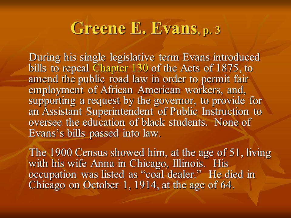 Greene E. Evans, p. 3