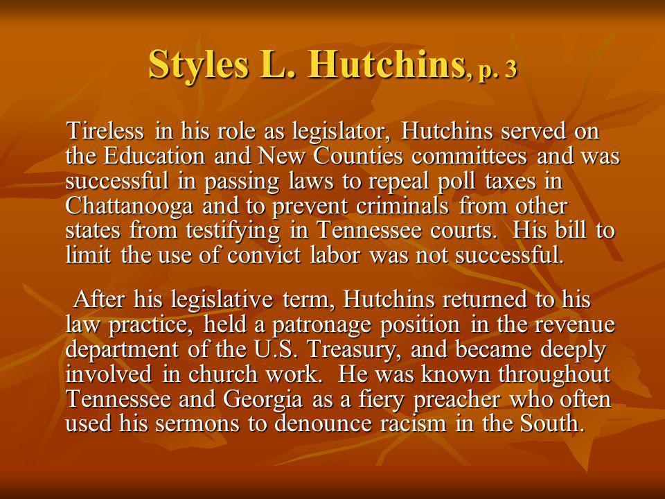 Styles L. Hutchins, p. 3