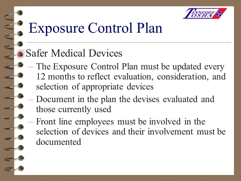 Exposure Control Plan Safer Medical Devices