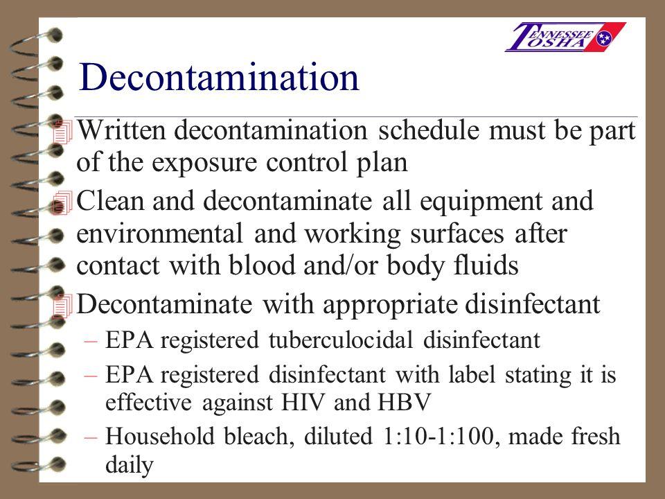 Decontamination Written decontamination schedule must be part of the exposure control plan.