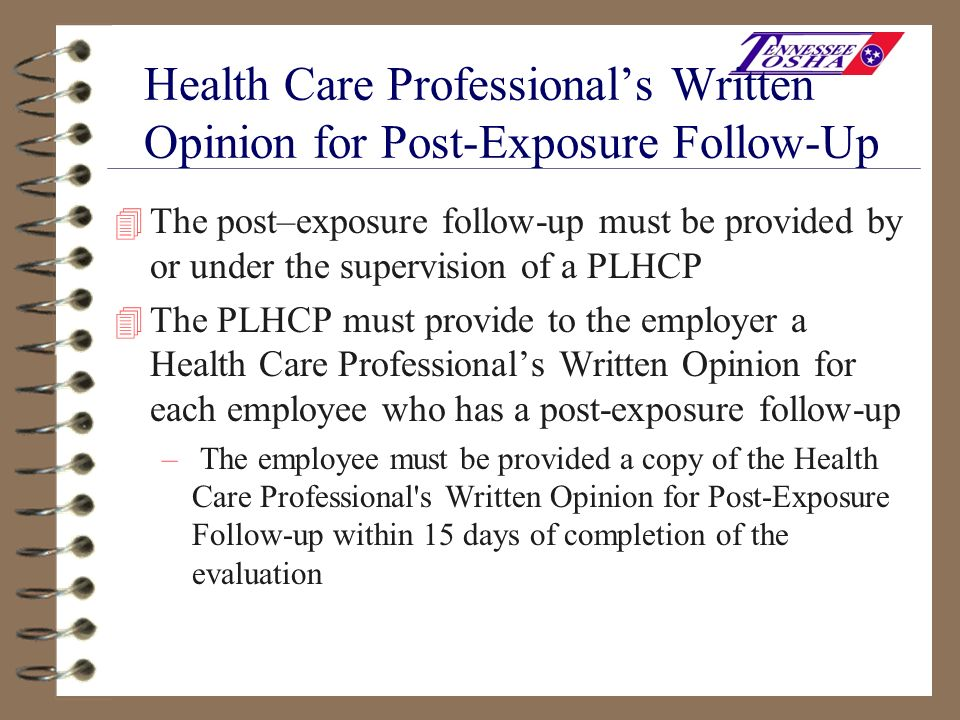 Health Care Professional's Written Opinion for Post-Exposure Follow-Up