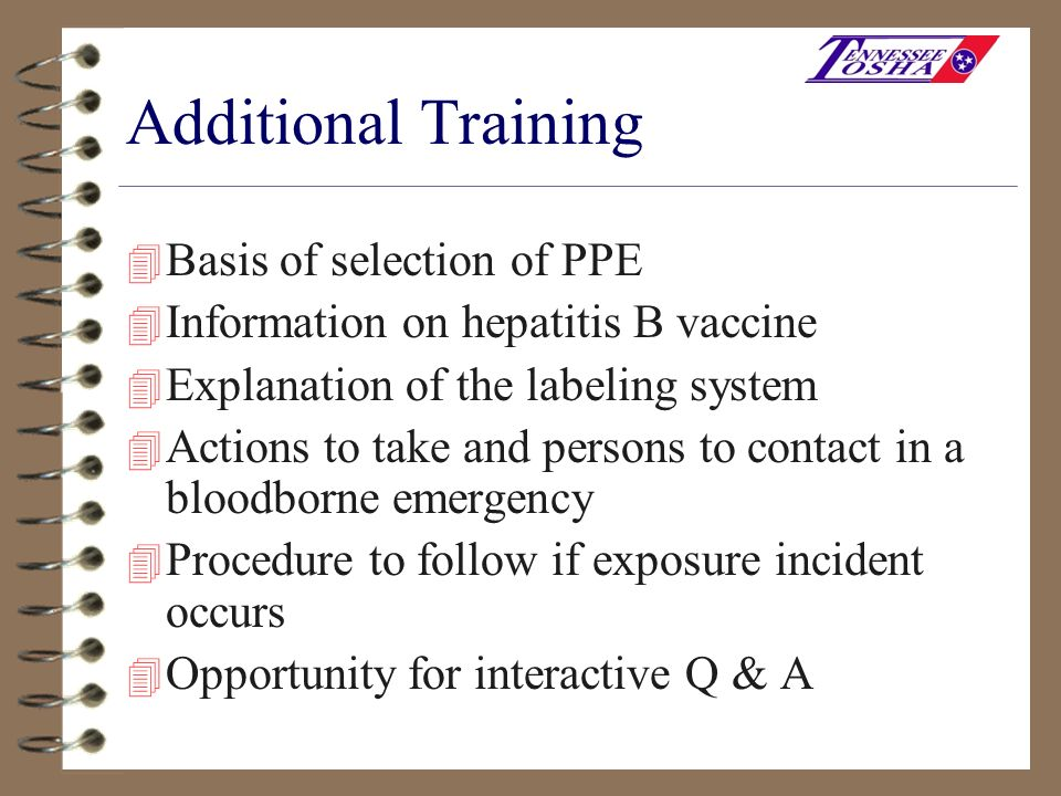 Additional Training Basis of selection of PPE
