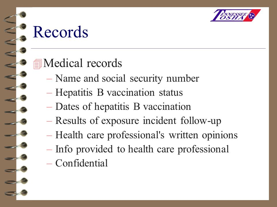 Records Medical records Name and social security number