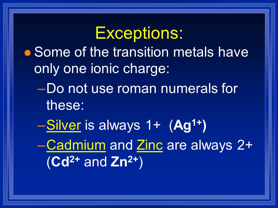 how to know ionic charge of transition metals