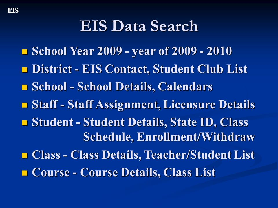 EIS Data Search School Year 2009 - year of 2009 - 2010