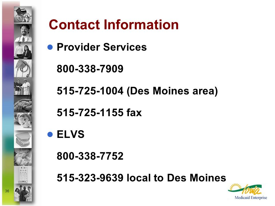 Contact Information Provider Services (Des Moines area) fax.