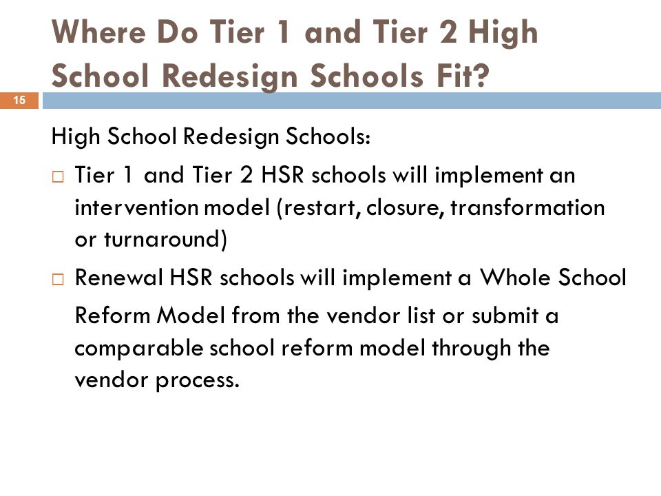 Where Do Tier 1 and Tier 2 High School Redesign Schools Fit