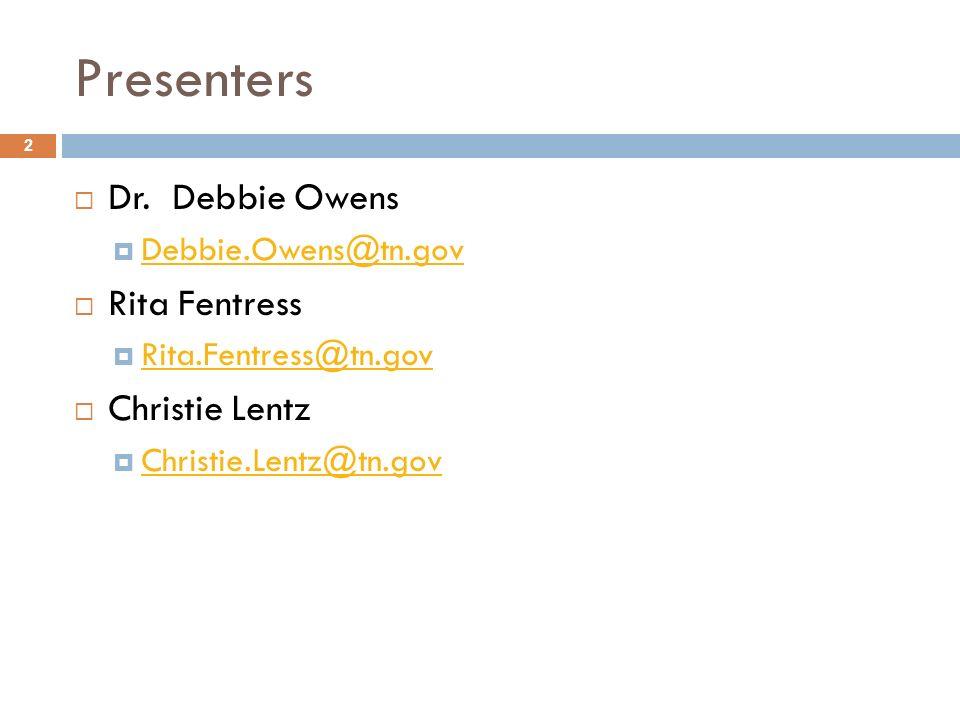 Presenters Dr. Debbie Owens Rita Fentress Christie Lentz