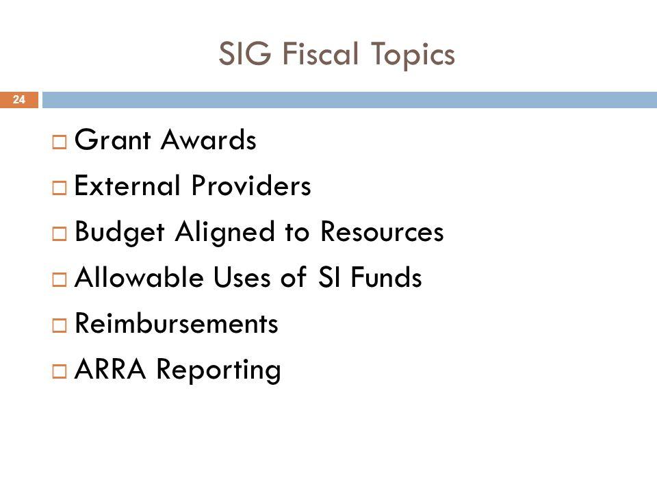 SIG Fiscal Topics Grant Awards External Providers