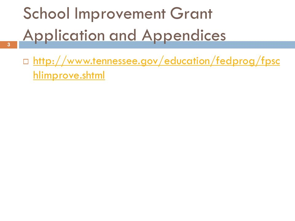 School Improvement Grant Application and Appendices