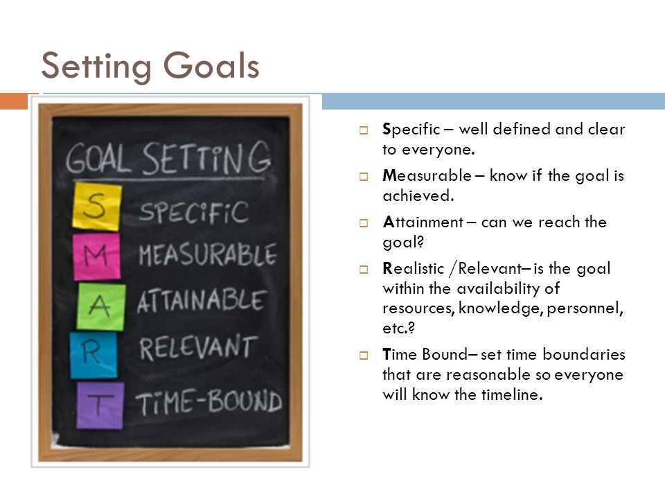 Setting Goals Specific – well defined and clear to everyone.
