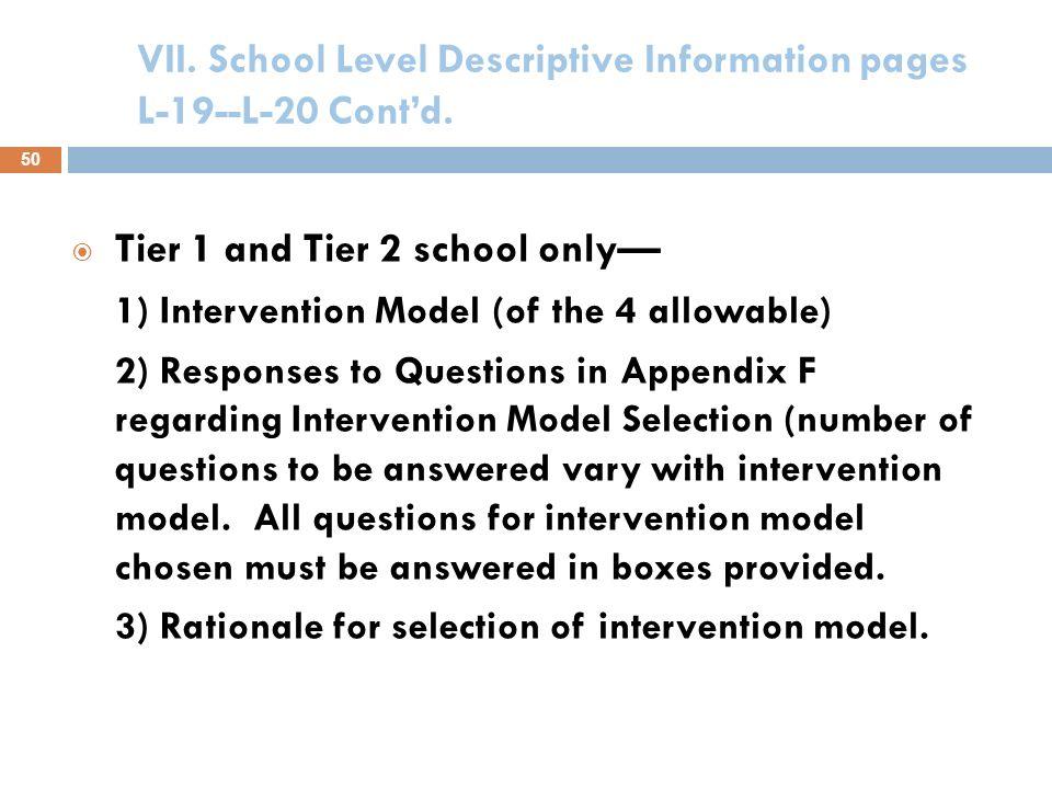 VII. School Level Descriptive Information pages L-19--L-20 Cont'd.
