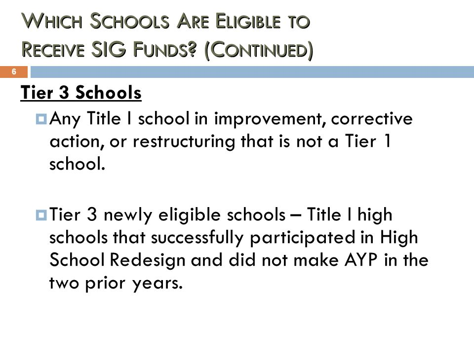Which Schools Are Eligible to Receive SIG Funds (Continued)
