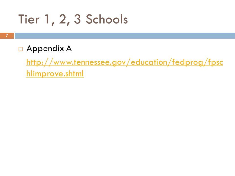 Tier 1, 2, 3 Schools Appendix A