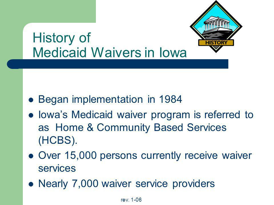 History of Medicaid Waivers in Iowa
