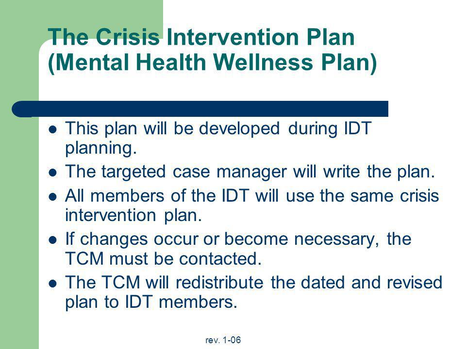 The Crisis Intervention Plan (Mental Health Wellness Plan)